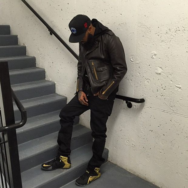 2827a9eb464b6 Stalley in the Nike LeBron 12 Grammy PE