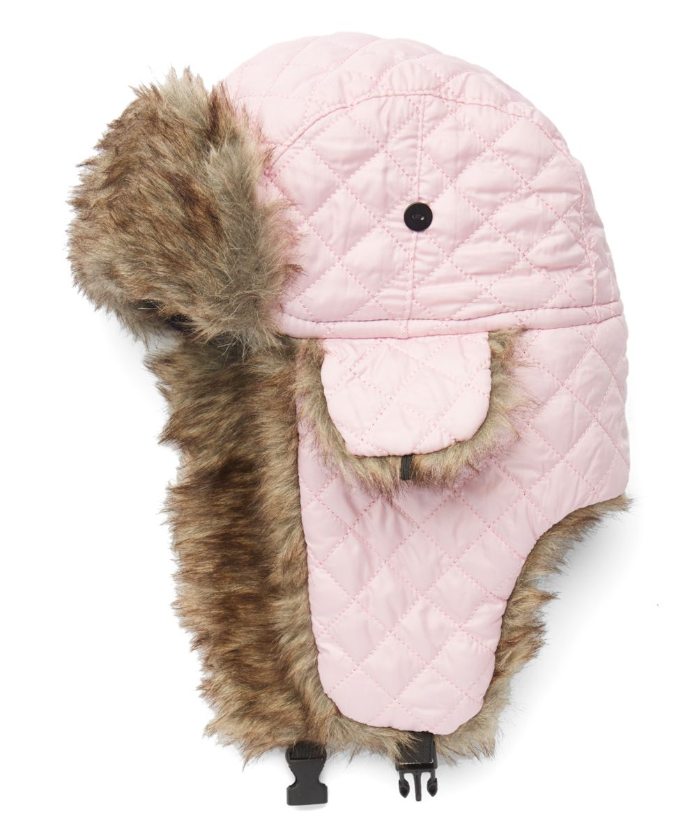 c36cc677172 POP Fashionwear Pink Quilted Faux Fur Trapper Hat