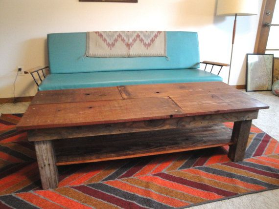 SAWTOOTH Custom Handmade Reclaimed Wood Coffee Table with shelf sample on Etsy, $365.00