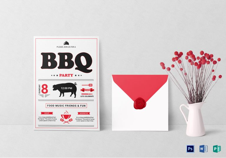 Tasty Barbecue Lunch Invitation Template  Invitation Card