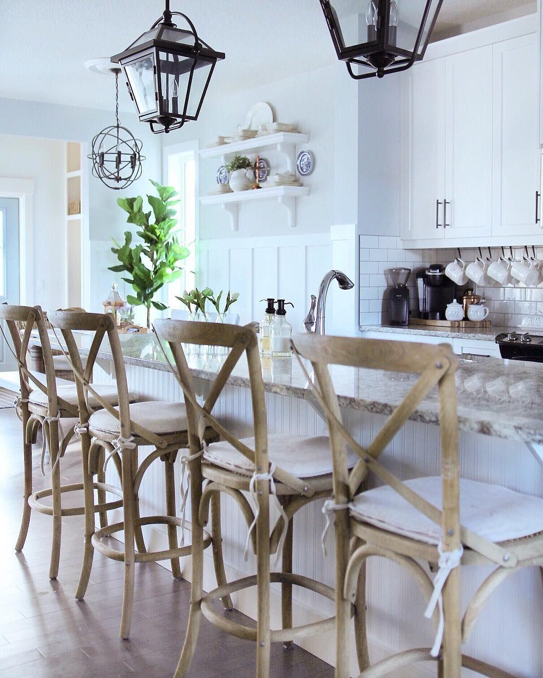 Restoration hardware barstools, white kitchen, board and ...