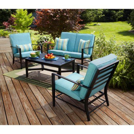 Mainstays Rockview 4 Piece Patio Conversation Set Seats Black