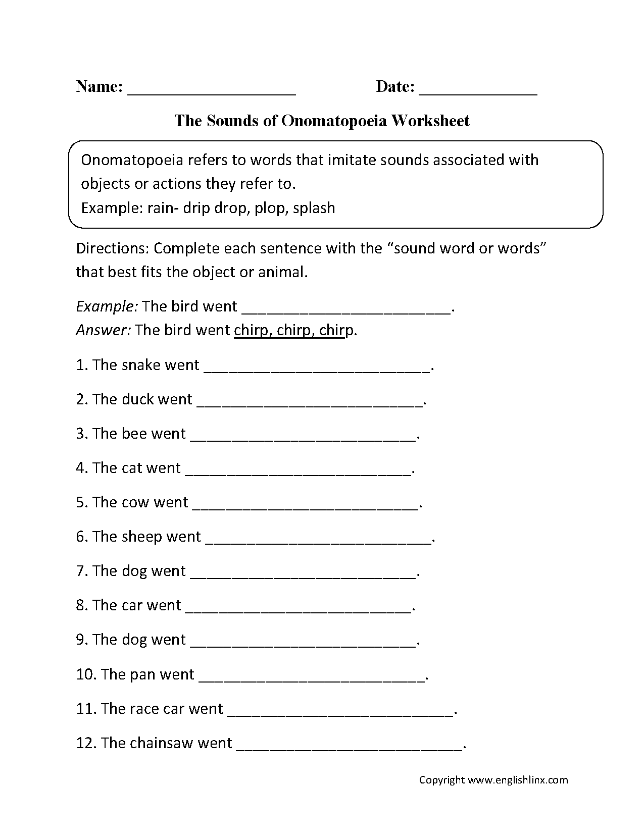sounds of onomatopoeia worksheet board pinterest worksheets language and. Black Bedroom Furniture Sets. Home Design Ideas