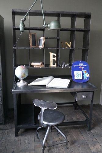 Meuble metier grand bureau tri postal industriel atelier loft ...