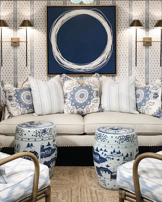 Blue And White Chinoiserie Chic Modern White Living Room
