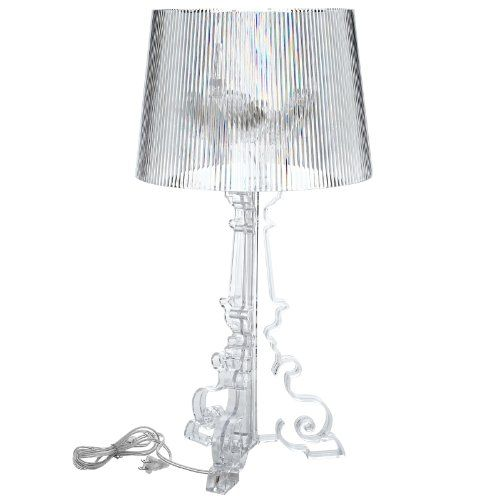 Bourgie style acrylic table lamp in clear modern table lamps lexmod