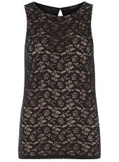 Tall black lace front shell top