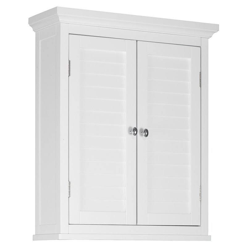 White or Black Slone Wall Cabinet 2 Shutter Doors for Bathroom//Kitchen Storage