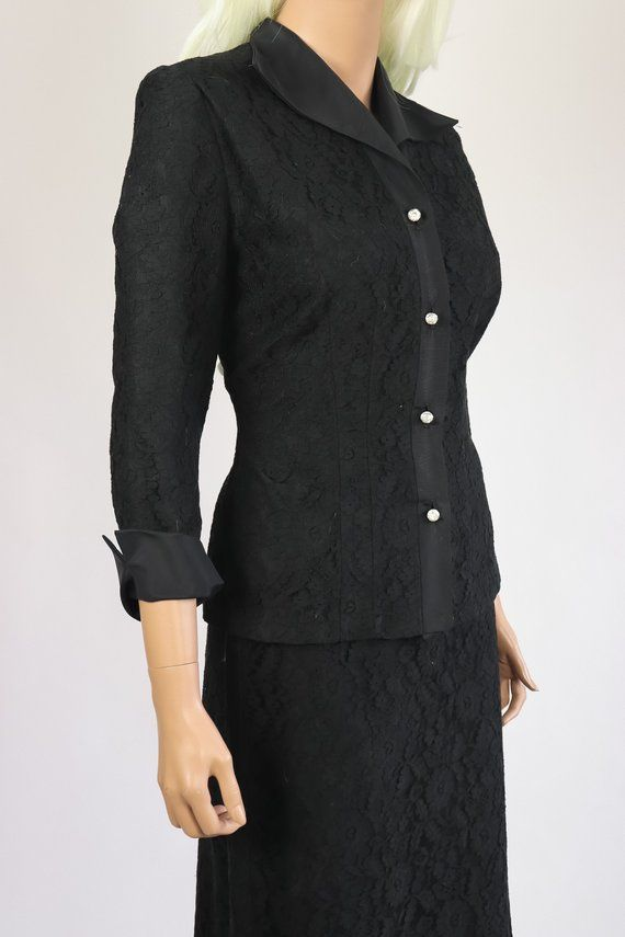 bbaf4574d 40s Suit 1940s Lace Dress Jacket and Skirt Set Noir Black Blazer 50s Career  Wear Boss Babe 1950s New