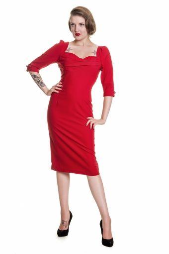 50s Rizzo dress Plain Red
