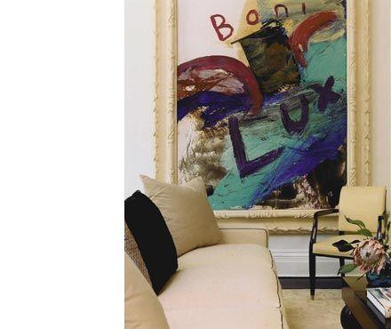 Eller lave form og farve af selve bogstaverne - teksten. Julian Schnabel painting