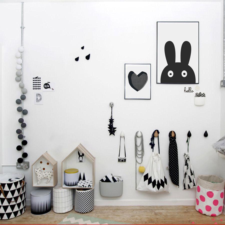Scandinavian Kids Room With Wall Hooks House Shelves