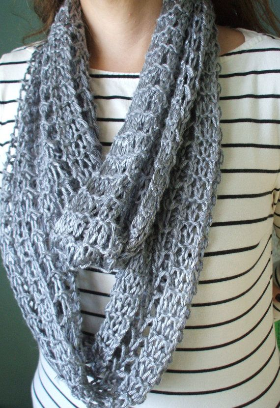 Eyelet Infinity Cowl Hand Knit Scarf In Wheat G2p925