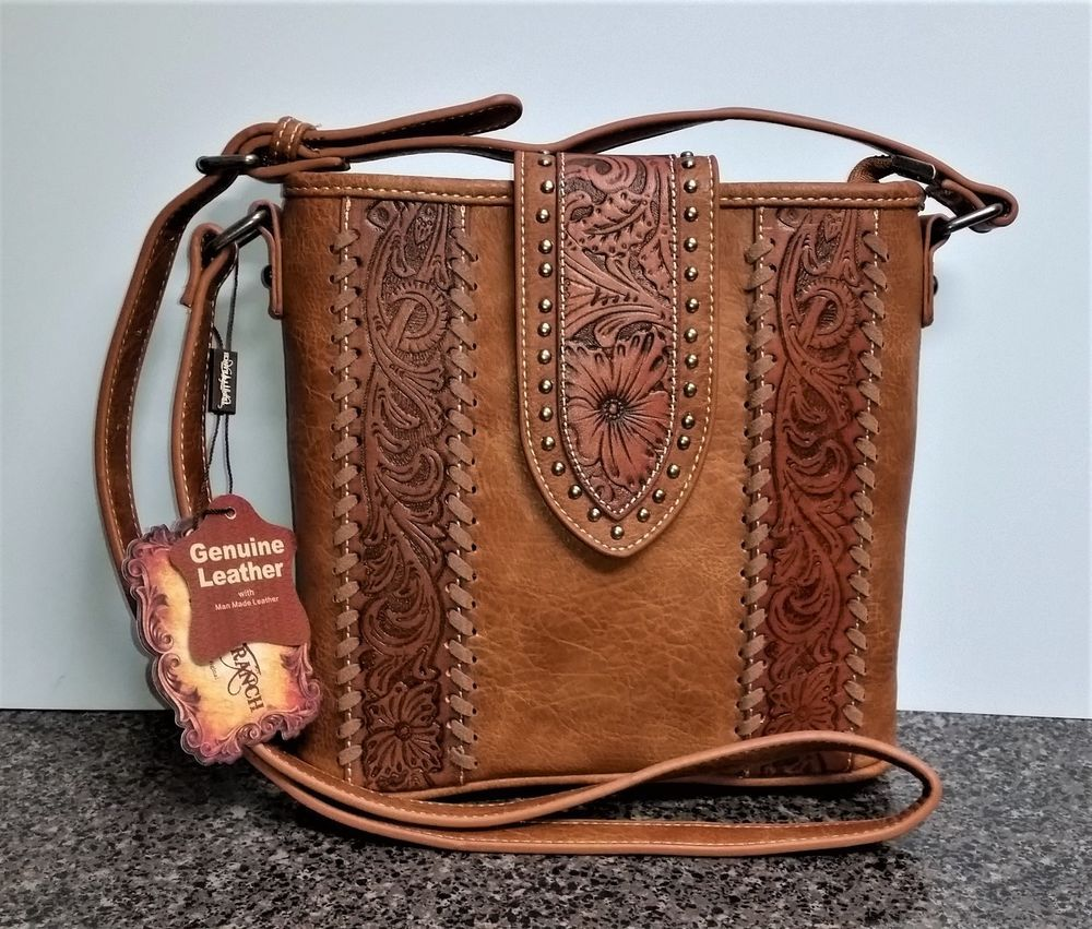 Montana West Trinity Ranch Purse Genuine Tooled Leather Western Satchel Bag