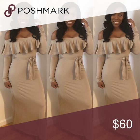 26baab0e57 Off the shoulder ruffle maxi dress. Long sleeve