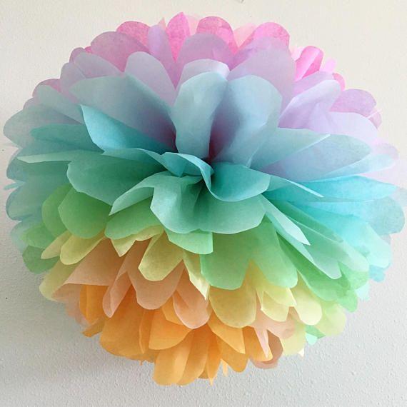 c611d379c4226 PASTEL RAINBOW tissue paper pompom unicorn party decorations girl ...