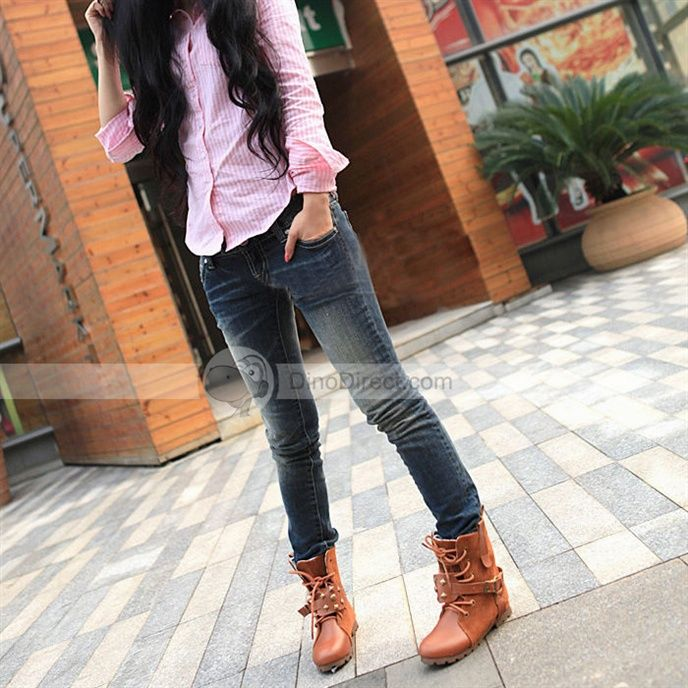 woman's flat lace-up boots | ... SIB Women Buckle Lace Up Flat ...