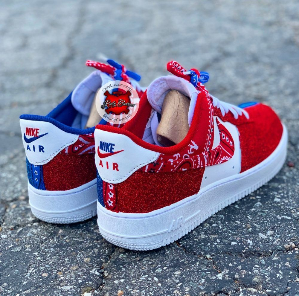 Red bandana shoes, Custom nike shoes