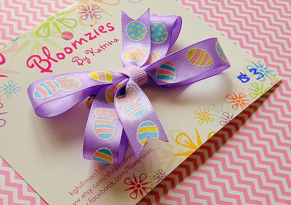 Easter Purple Hair Bow with Easter Egg Print by Bloomzies on Etsy, $3.00