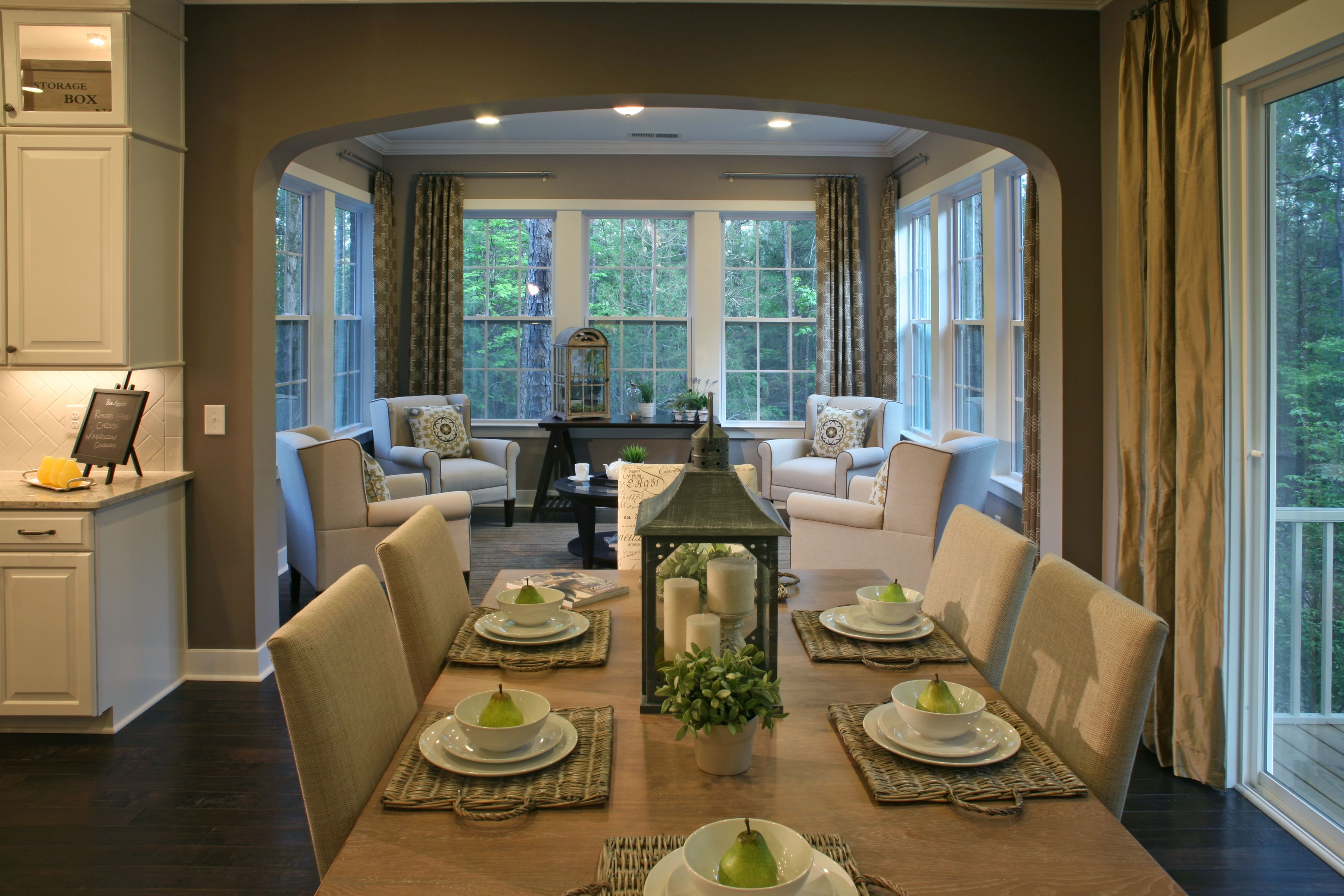 Model Home Designed By Mary Ann Roth, Lead Designer For Bassett Furniture,  At The Forest, Fort Mill, SC. Breakfast Room And Adjoining Sunroom