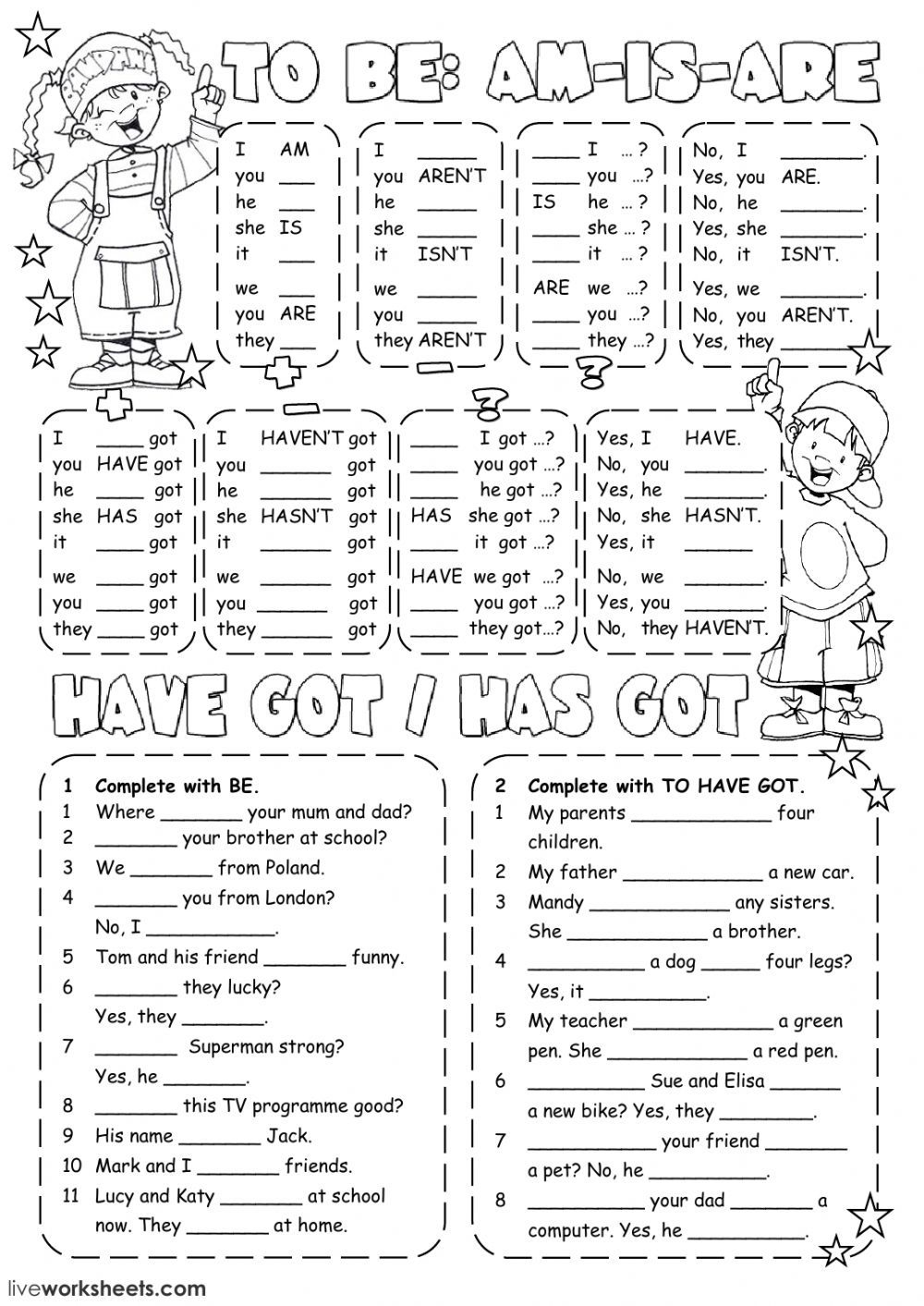 Verb to be interactive and downloadable worksheet. You can