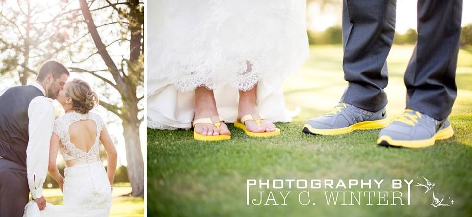 Yellow and Grey Wedding tennis shoes and flip flops / keyhole back wedding dress