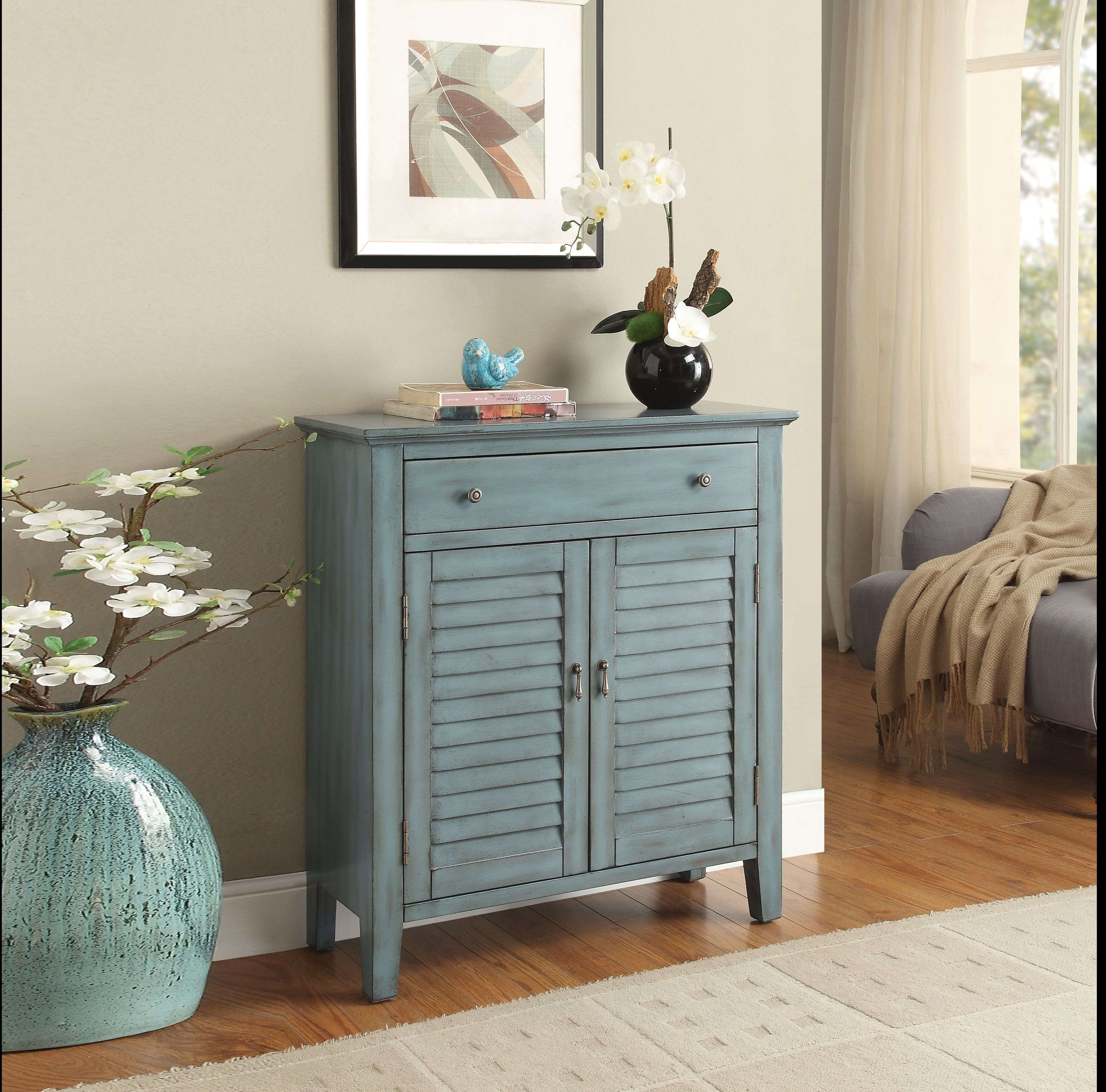 Winchell Antiqued Console Table Antique Blue Blue Console Table