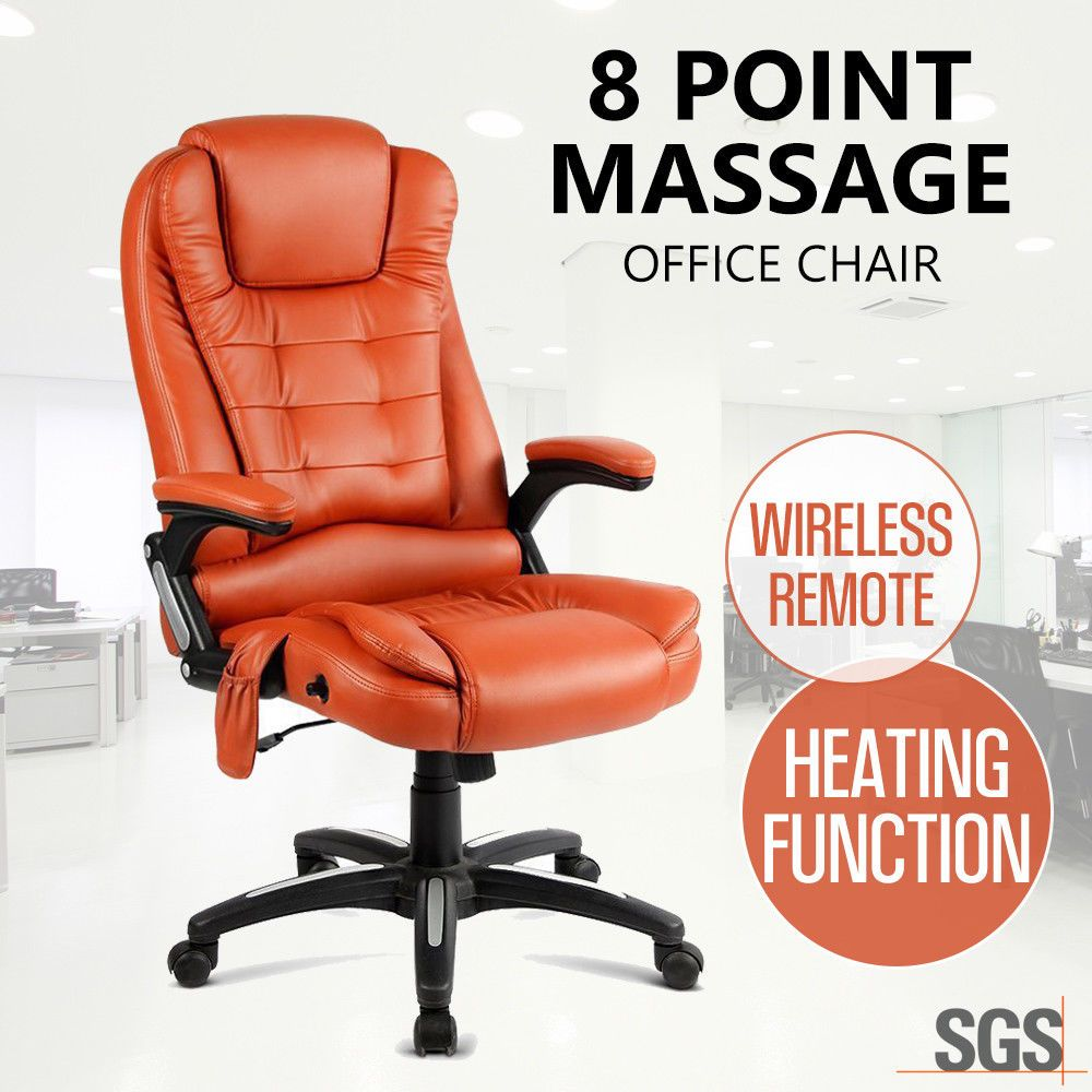 Details about 8 Point Massage Office Chair PU Leather