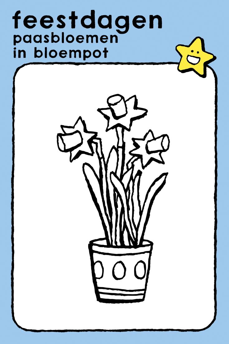 paasbloemen in bloempot  kiddikleurprenten in 2020