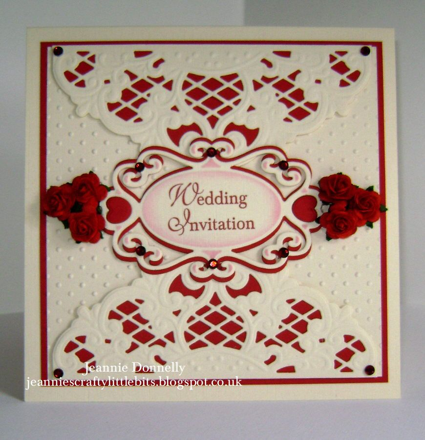 Red and Cream Wedding Invitation using a Marianne Designs Die and ...