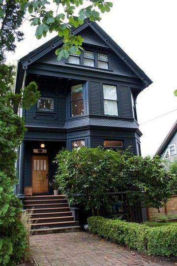 What Color Is This House Black House Exterior Victorian House Colors Modern Victorian Homes