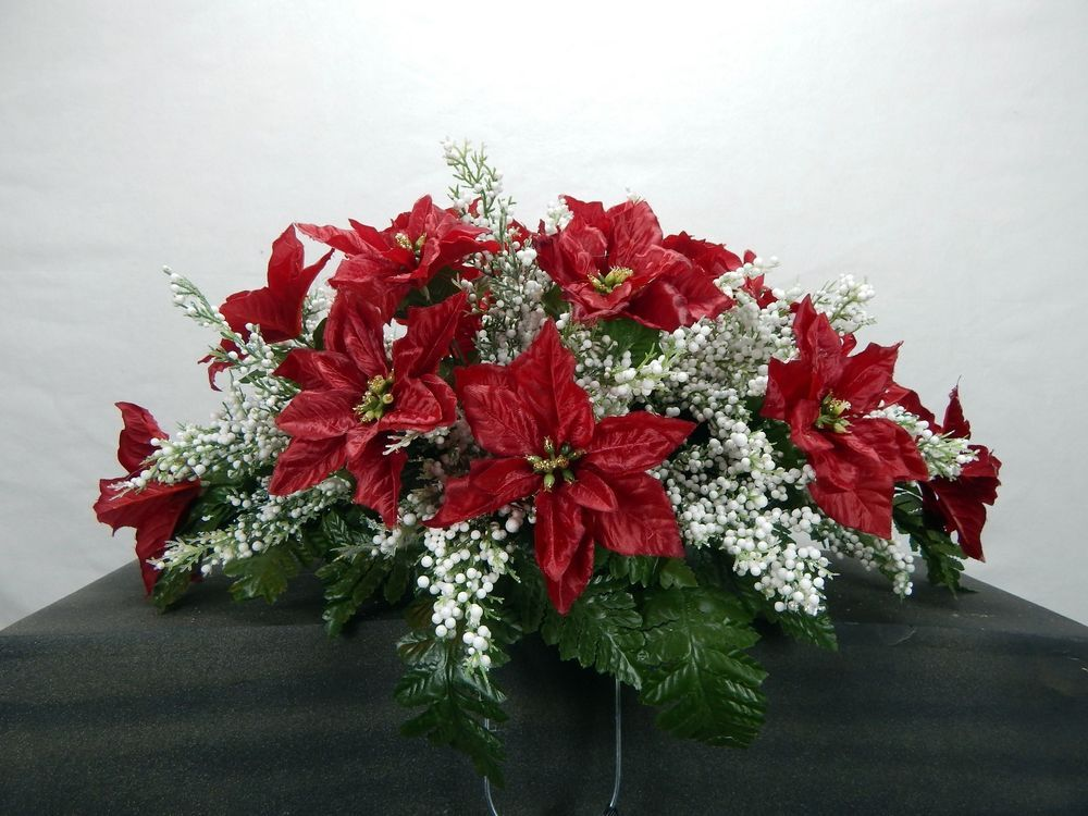 Christmas Poinsettia With White Filler Cemetery Flower