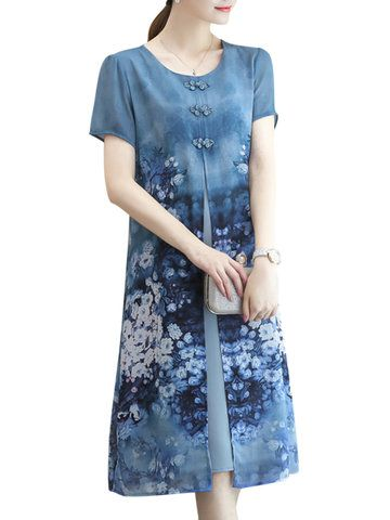 fe1a4f3514dc2 Vintage Floral Printed Two Layers Short Sleeve Dresses Online - NewChic  Mobile