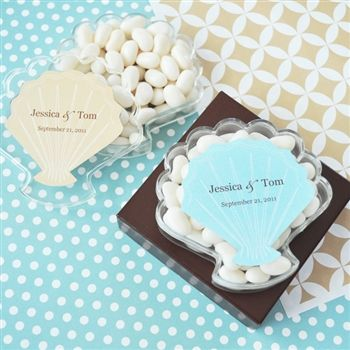 In A Sea Of Square Favor Bo These Shell Shaped Personalized Seashell Acrylic Really Stand Out Ideal For Beach Themed Bridal Shower