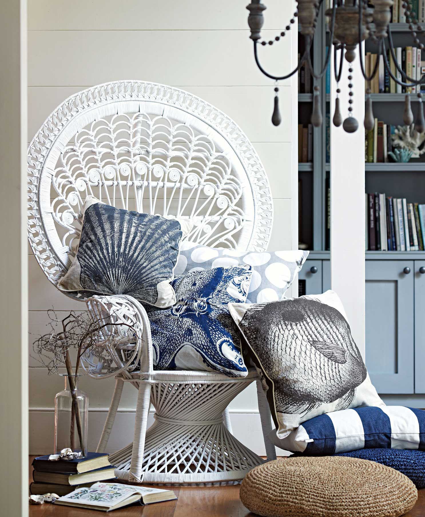 White Indian Peacock Chair