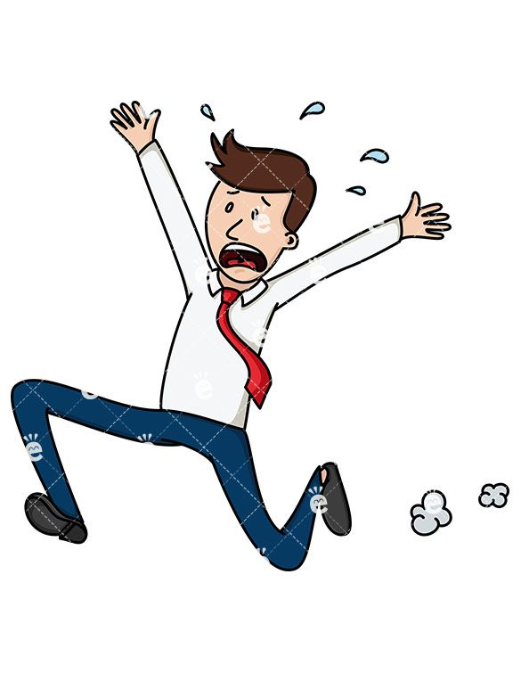 Terrified Businessman Running Away Cartoon Vector Clipart Friendlystock Cartoon Character Design Animated Man Cartoon Sketches
