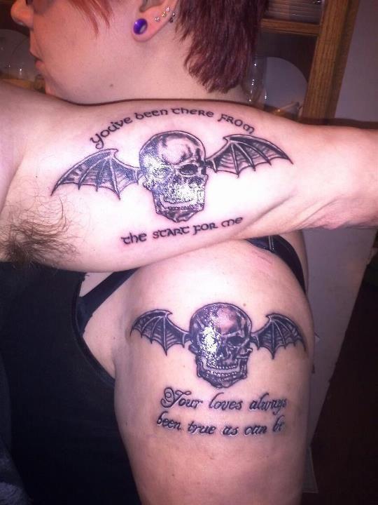 Mine And My Husbands Deathbat Tattoos A7x Tattoo Tattoos And Piercings Skull Tattoo