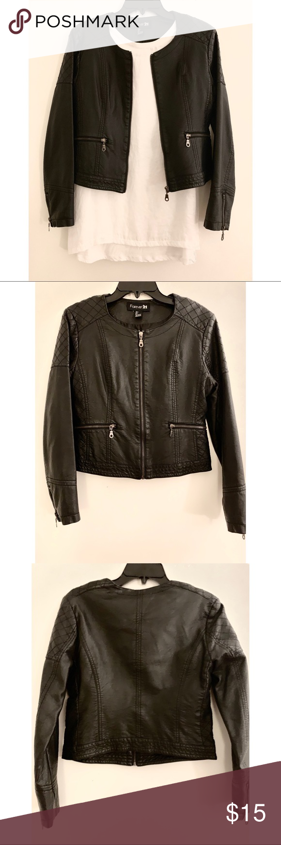 Forever 21 Faux Leather Jacket Faux Leather Jackets Leather Jacket Black Faux Leather Jacket [ 1740 x 580 Pixel ]