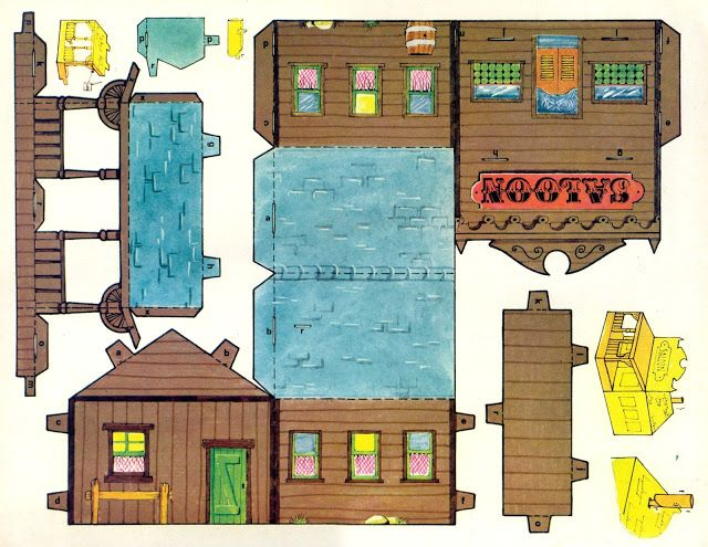 Maquette d 39 un saloon imprimer et monter activit s cowboys pinterest maquettes maisons - Patron de maison en papier a imprimer ...