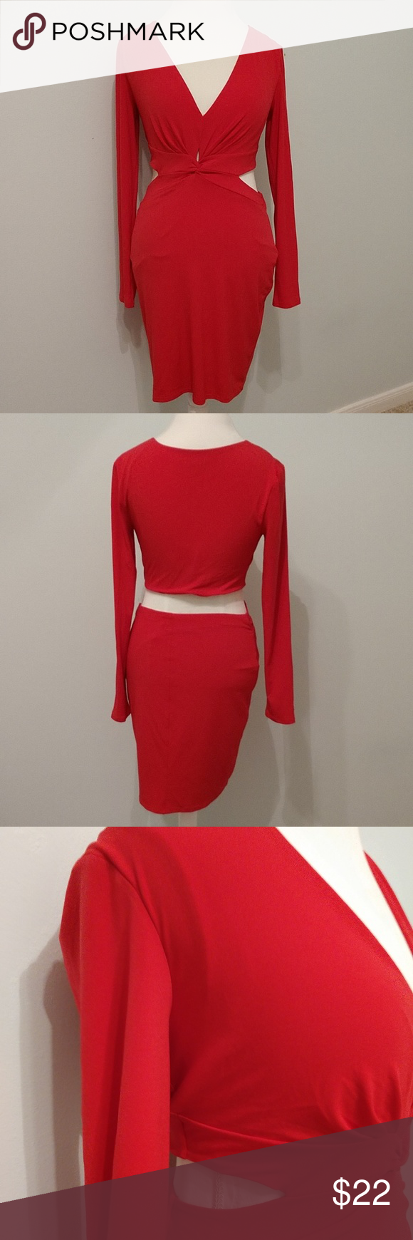 Express cocktail cutout dress spandex material fiery red and red