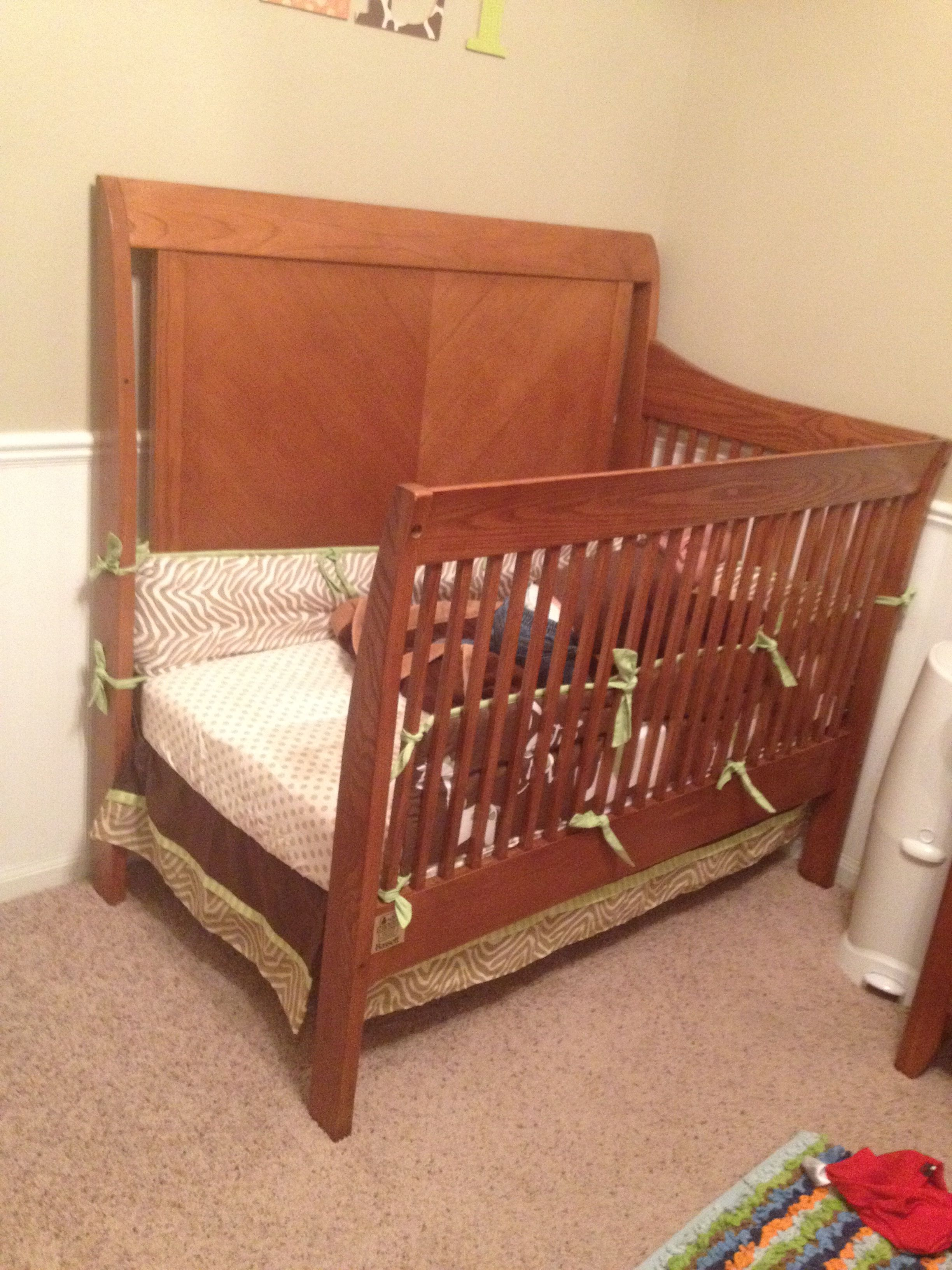 Quick (not to mention cheap) solution for crib to toddler bed ...