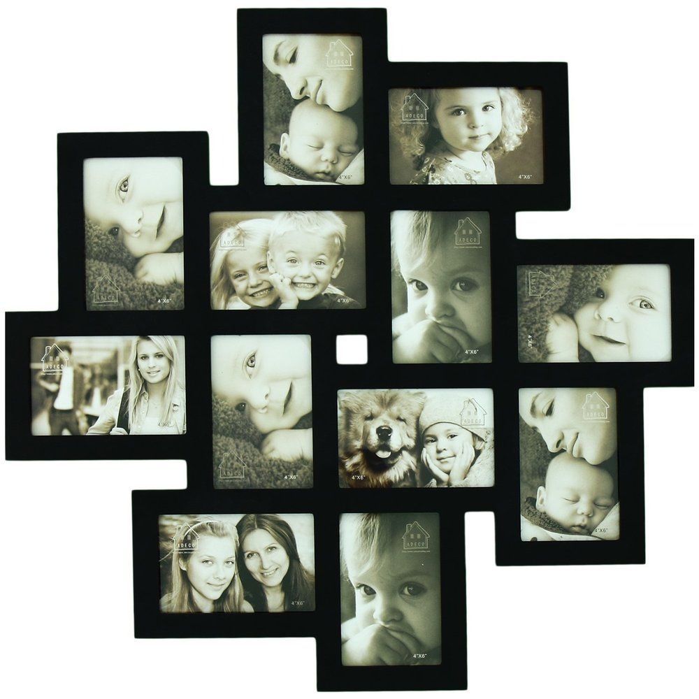 12-opening Wooden Wall Black Collage Photo Picture Frame Wall Art ...