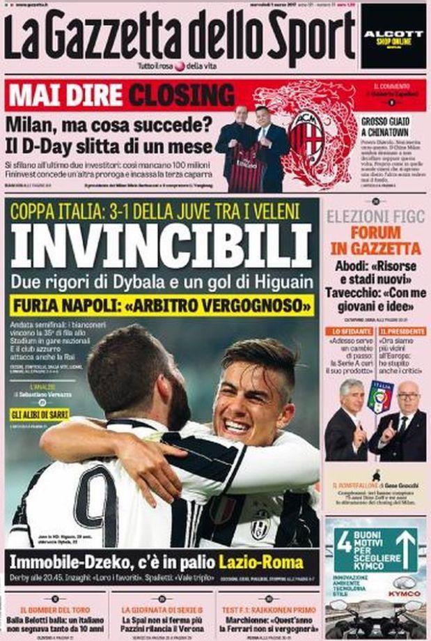 Quotidiani Sportivi prima pagina Gazzetta dello Sport 1