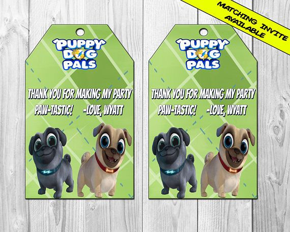 Puppy Dog Pals Favor Tag Birthday Party Favor Tags Puppy – Puppy Dog Birthday Invitations