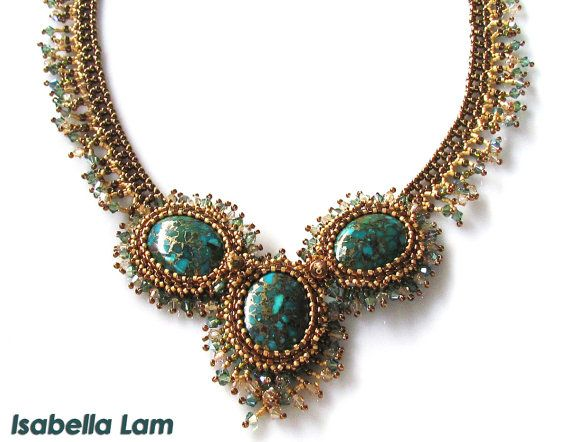 Gorgeously Trio Copper Turquoise Cabochon Beadwork by bead4me, $240.00