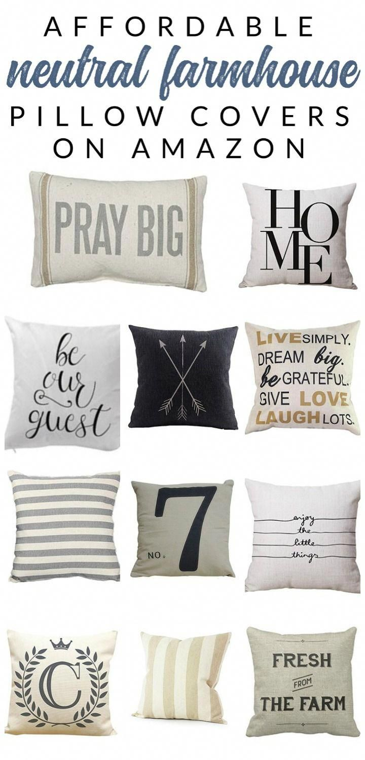 Shop affordable neutral and farmhouse pillow covers – these budget-friendly bu...