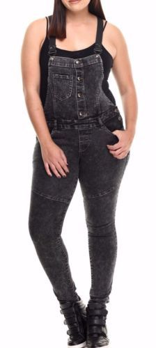 Plus Size Denim Overalls Jumpsuit Skinny Leg Black Gray