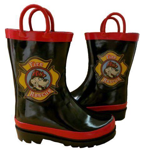 Toddler Fireman Rain Coats and Boots with Umbrellas ...