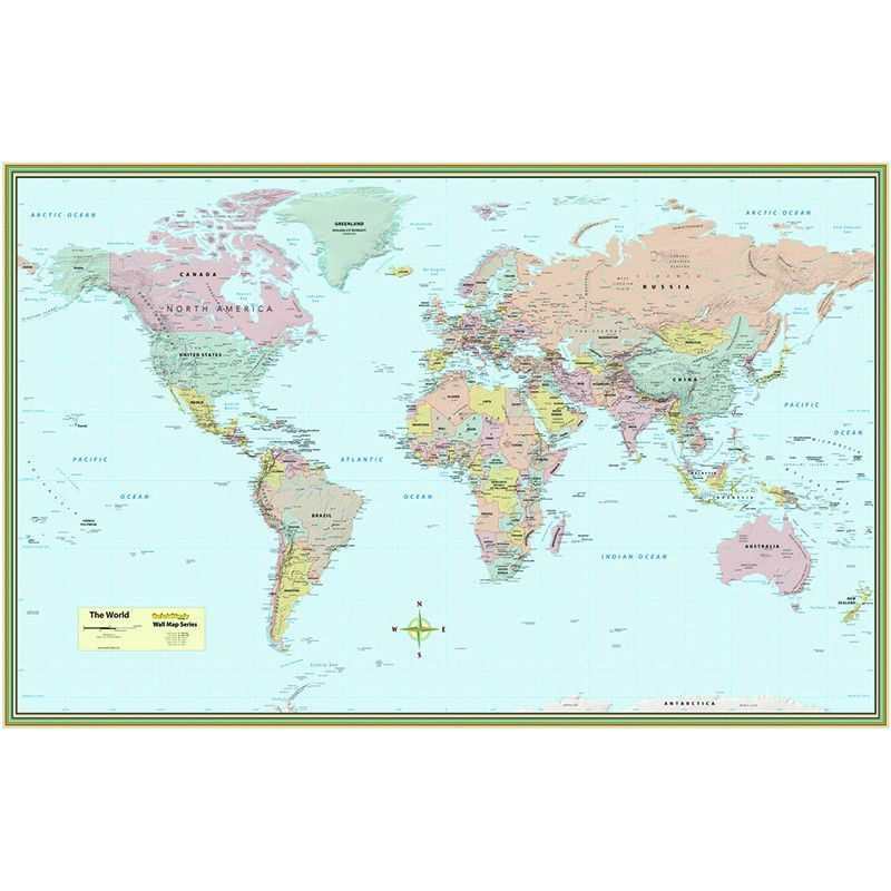 world map laminated poster 50 x 32 room world map on laminated wall maps id=98834