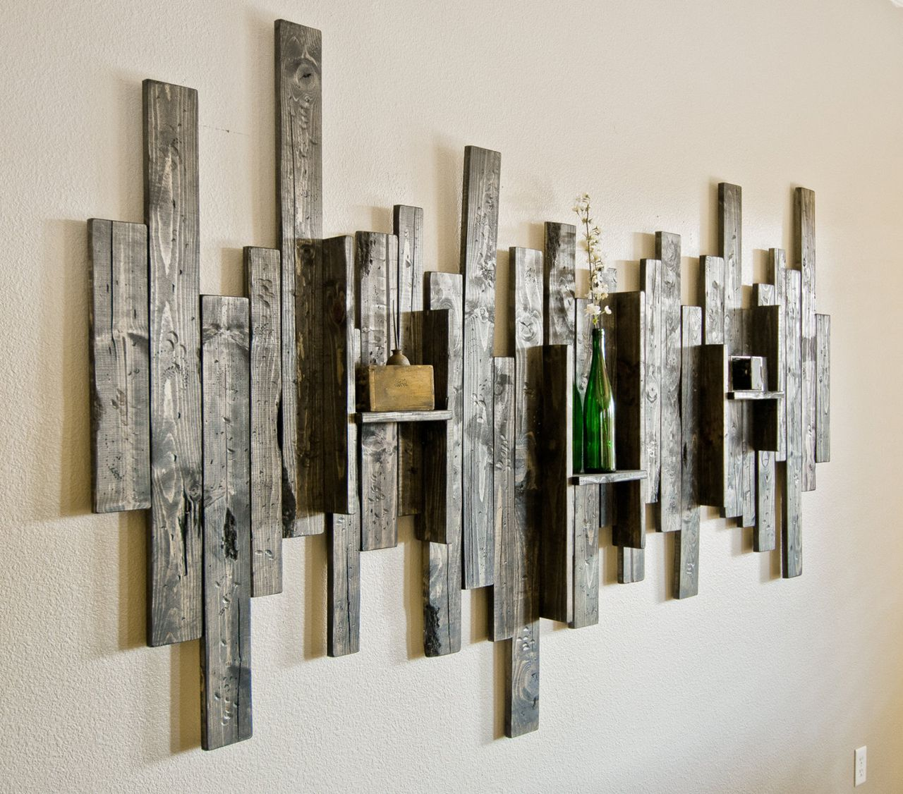Abstract Wall Art and Shelf from Rustic Barn Wood